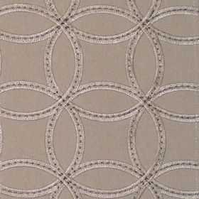 Larvik - Putty - Putty brown fabric with stitched on overlapping circles