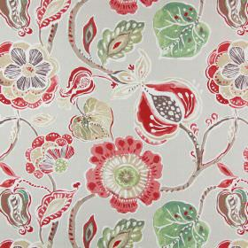 Lamorna - Sienna - Red, green, light brown, dark brown, beige and white making up the colours for the floral pattern on this cotton fabric