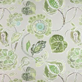 Lamorna - Willow - Beige cotton fabric featuring a large, simple floral pattern in different shades of grey and green