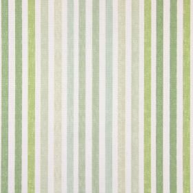 Chambery - Willow - Cotton fabric featuring a regular striped design in white, cream and various different shades of green