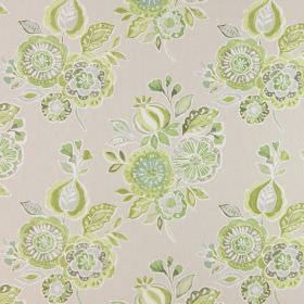 Mirabelle - Willow - Fabric made from beige cotton, printed with bunches of simple flowers in several different shades of green