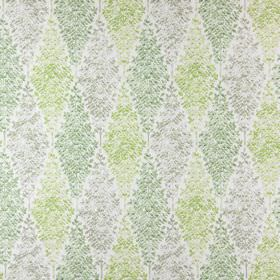 Limogues - Willow - Grey and two different shades of green making up the leaf-filled diamond pattern for this white cotton fabric