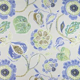 Lamorna - Porcelain - Cotton fabric in beige-cream, printed with large blue, green, brown and white flowers