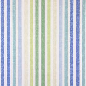 Chambery - Porcelain - Shades of blue, cream and green making up the striped pattern for this cotton fabric in white
