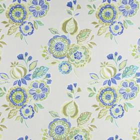 Mirabelle - Porcelain - A design of bunches of simple flowers in cobalt blue, light brown and shades of green on cotton fabric in cream
