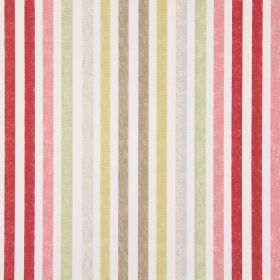 Chambery - Sienna - Cotton fabric in white, printed with regular red, pink, green, grey, gold and brown vertical stripes
