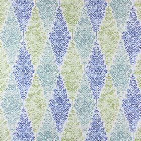 Limogues - Porcelain - Blue, grey-blue and green diamonds filled with tiny leaves on a white cotton fabric background