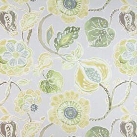 Lamorna - Mimosa - Flowers in solid shades of gold, green, grey-blue and white printed as a large pattern on light grey coloured cotton