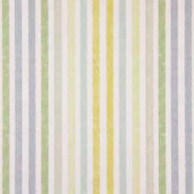Chambery - Mimosa - Vertical stripes in shades of green, gold, blue and beige on a background of white cotton fabric