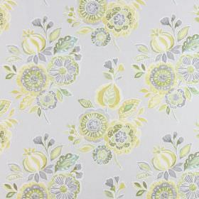Mirabelle - Mimosa - Light grey coloured cotton fabric, printed with bunches of green, gold, grey and white flowers and leaves