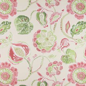 Lamorna - Petal - A large, simple floral design in pink and green printed on a cotton fabric background in beige