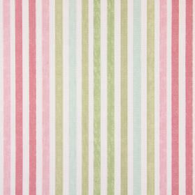 Chambery - Petal - White cotton fabric with a striped pattern including colours such as pink, light brown, duck egg blue and green