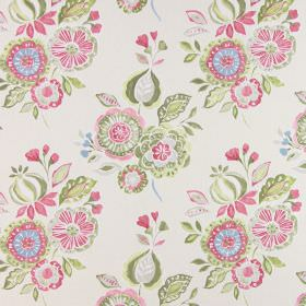 Mirabelle - Petal - Cotton fabric in cream, with a simple floral pattern featuring bunches in pink, green, white and light grey