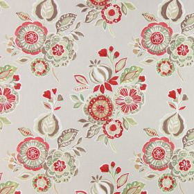 Mirabelle - Sienna - Cotton fabric with beige, red, green, cream, brown and white bunches of flowers on a plain background
