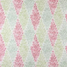 Limogues - Petal - White cotton fabric printed with pink, green and blue-grey diamonds which are filled with miniscule leaf shapes