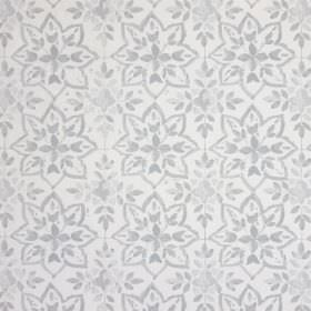 Avignon - Pebble - Pretty, simple florals printed in light grey on a 100% cotton fabric background in an even paler shade of grey