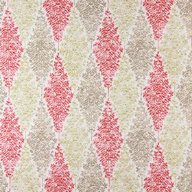 Limogues - Sienna - Miniscule leaves in red, brown and gold, arranged in diamond shapes on a background of white fabric made from cotton