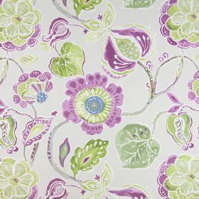 Lamorna - Orchid - Plain beige coloured cotton fabric printed with large purple and green coloured flowers
