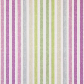 Chambery - Orchid - A striped pattern in shades of pink, grey, beige and green on fabric made from white cotton