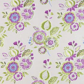 Mirabelle - Orchid - Green, white and fuschia coloured flowers and leaves arranged in bunches and printed on light grey cotton fabric