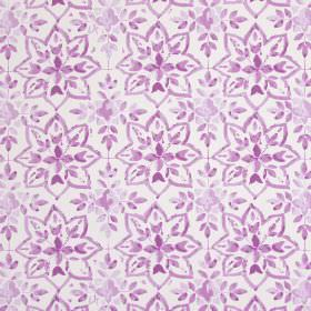 Avignon - Orchid - White cotton fabric printed with small, simple pink leaves and star shapes