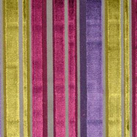 Glamour - Mulberry - Reflective fabric with mulberry pink stripes