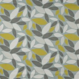 Pimllico - Duck Egg - 100% cotton fabric in light grey, scattered with off-white, pale grey, battleship grey and dark lime green coloured leav