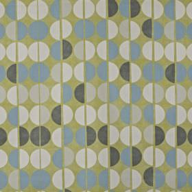 Shoreditch - Fennel - Grey-green 100% cotton fabric printed repeatedly with rows of half circles in white, pale grey, dark grey and light bl