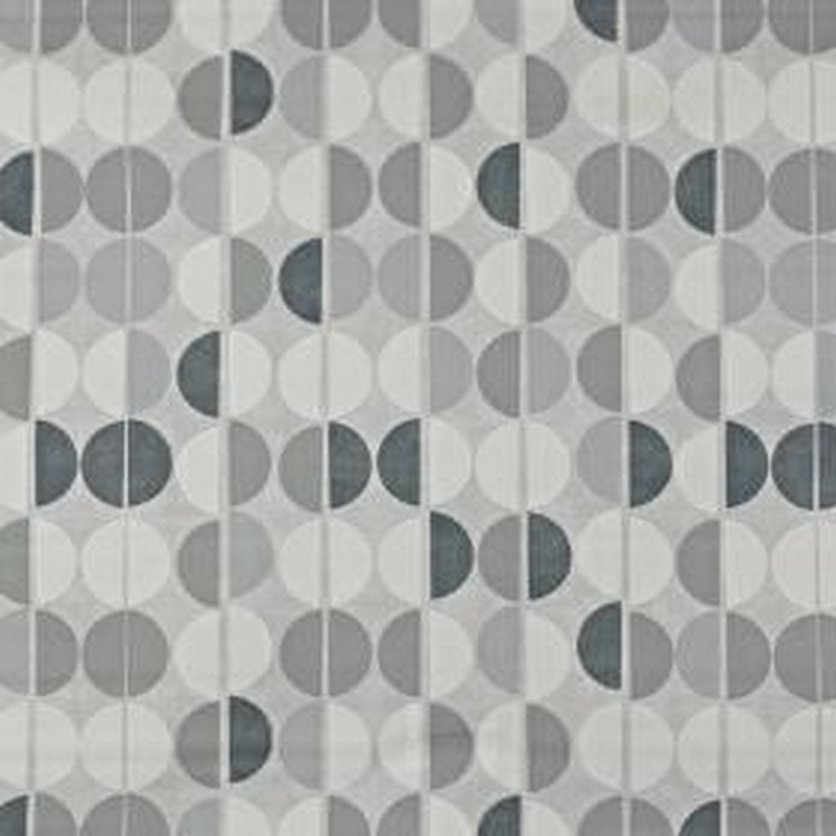 Shoreditch - Pebble - Various light and dark shades of grey making up a contemporary hemisphere design printed on 100% cotton fabric