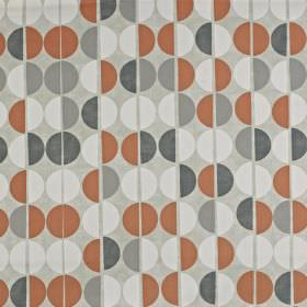 Shoreditch - Mango - Rows of dark grey, iron grey, white and brick red half spheres printed on a light grey 100% cotton fabric background