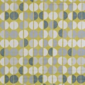 Shoreditch - Saffron - Fabric made from olive green coloured 100% cotton, printed with rows of white, silver-grey and dark grey half circles