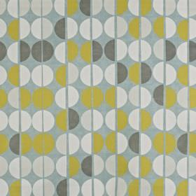 Shoreditch - Duck Egg - Lime green, off-white and three shades of grey making up a simple, stylish hemisphere print on 100% cotton fabric