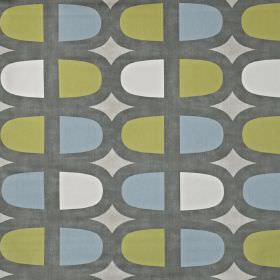 Docklands - Fennel - White, apple green and powder blue coloured lozenge shapes outlined in dark grey, printed on pale grey 100% cotton fabric