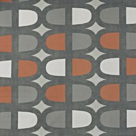 Docklands - Mango - Pale grey 100% cotton fabric printed repeatedly with lozenge shapes in iron grey, battleship grey, white and light red