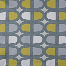 Docklands - Saffron - A fun, contemporary design printed repeatedly on 100% cotton fabric in dark grey, light grey, white and olive green