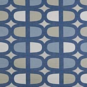Docklands - Denim - Curving lozenge style shapes printed repeatedlyin white, light grey, light blue & navy on fabric made from 100% cotton