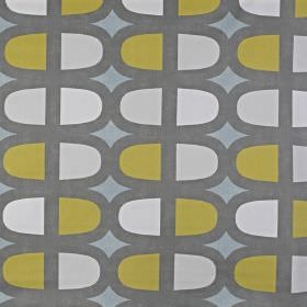 Docklands - Duck Egg - Fabric made from 100% cotton, featuring a repeated pattern of modern lozenge style shapes in blue, green, grey and wh