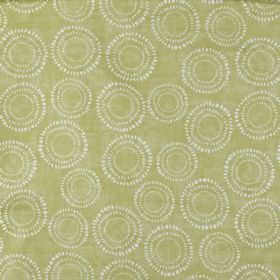 Embankment - Fennel - Dotted white and pale grey circles arranged over a light grey-green 100% cotton fabric background