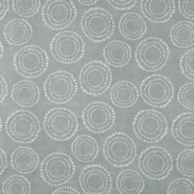 Embankment - Pebble - Blue-grey fabric made from 100% cotton, printed repeatedly with a pattern of dotted circles in white