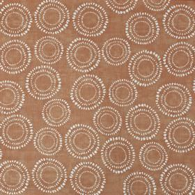 Embankment - Mango - A pattern of dotted circles creating a white design on a background of 100% cotton fabric in a dusky shade of blood red