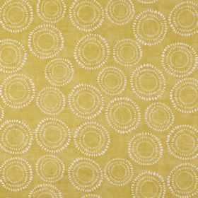 Embankment - Saffron - Honey coloured 100% cotton fabric printed repeatedly with a small, dainty pattern of dotted white circles