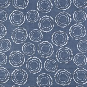 Embankment - Denim - A classic navy blue and white colour combination making up a dotted circle print on 100% cotton fabric