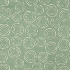 Embankment - Duck Egg - A white pattern of dotted circles printed repeatedly on fabric made from light blue-grey coloured 100% cotton