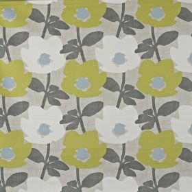Bermondsey - Fennel - 100% cotton fabric featuring a modern floral pattern in white, olive green and three different shades of grey