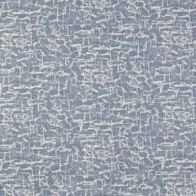 Spitalfields - Denim - 100% cotton fabric made in white and light, dusky blue, featuring a small, patchy, slightly streaky effect