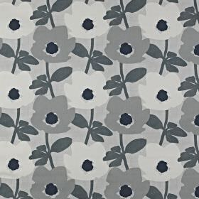 Bermondsey - Pebble - A modern floral pattern made in various pale, light and dark shades of grey printed repeatedly on 100% cotton fabric