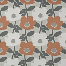 Bermondsey - Mango - Light red and off-white flowers with grey centres & dark grey leaves printed on light grey fabric made from 100% cotton