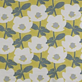Bermondsey - Saffron - Fabric made from citrus coloured 100% cotton, featuring a modern lead grey, silver-grey and milk white floral pattern