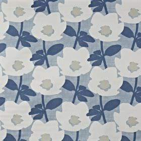 Bermondsey - Denim - 100% cotton fabric made in light grey, white, navy blue and dusky blue, featuring a modern, simple floral pattern