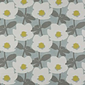 Bermondsey - Duck Egg - Floral patterned 100% cotton fabric, with white and olive green flowers with grey leaves on a light grey background